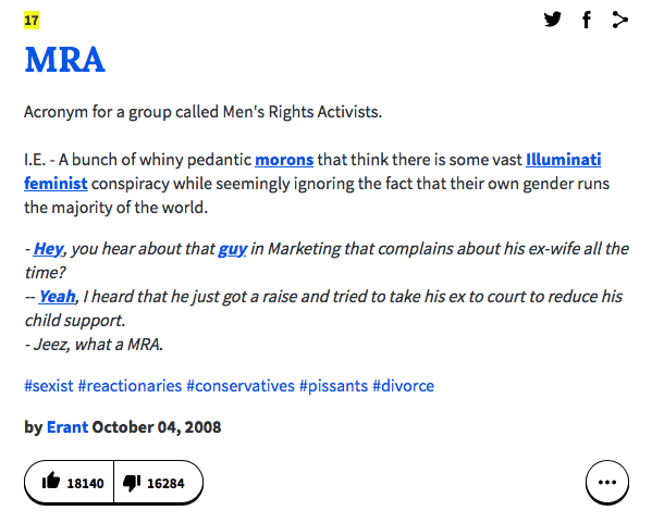 Mens rights activists have taken over urban dictionary body for wife now its number 17 buried on page 3 because the man babies downvoted the shit out of it and created over a dozen glowingly positive definitions for mra mozeypictures